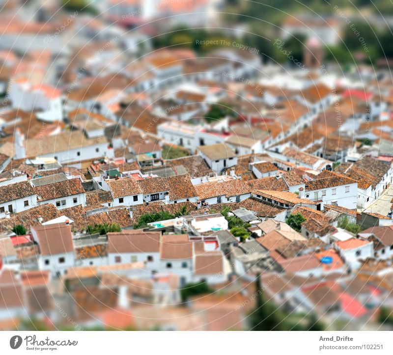 Mini Village in Andalusia Tilt-Shift Small Miniature Bird's-eye view Andalucia Town Roof White Brown Europe tilt Pattern Surrealism model building landscape