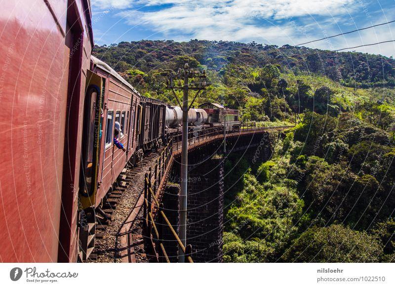 train Vacation & Travel Trip Adventure Far-off places Expedition Summer Environment Landscape Clouds Plant Bridge Transport Passenger traffic Train travel