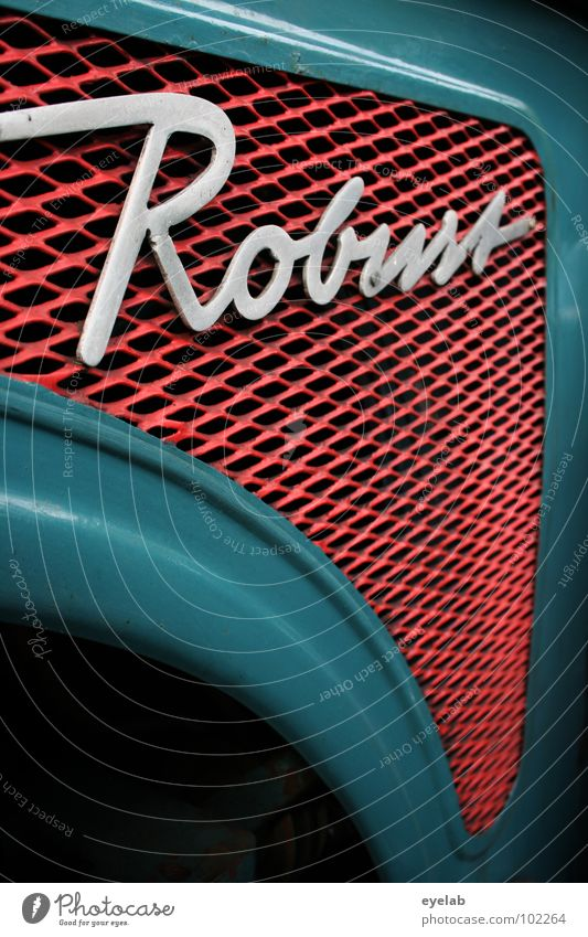 ROBUST (Now even more robust!) Typography Curlicue Logo Design Tractor Retro The fifties Sixties Turquoise Green Agriculture Vehicle Machinery Engines Hick