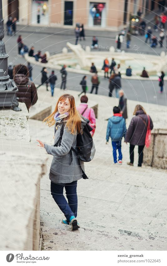 Vacation & Travel Youth (Young adults) Young woman Joy Far-off places Life Feminine Building Playing Lifestyle Freedom Tourism Stairs Leisure and hobbies