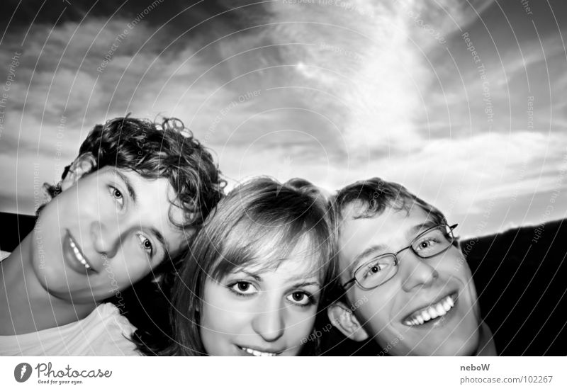 lean Grinning Clouds Collage Joy Black & white photo Sky self-protraction Human being Laughter