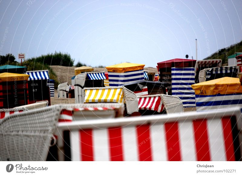 beach tile Beach Beach chair Basket Deserted Ocean Tent Beach tent Borkum Relaxation Zone Loneliness Untouched Vacation & Travel Boredom Summer Coast Colour