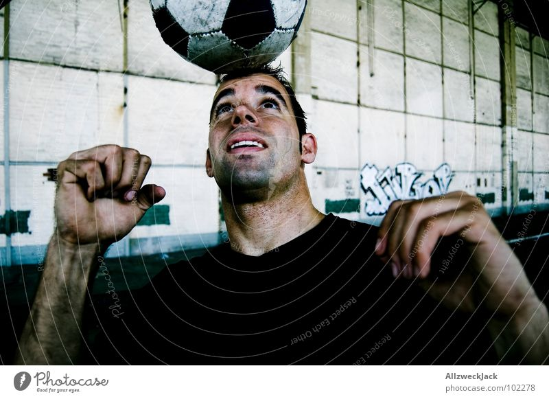 Goldkopf strikes back Header Ball sports Leather World Cup Esthetic Contentment Balance Attacker Man Perspiration Dirty Sports Playing Soccer behead sb.