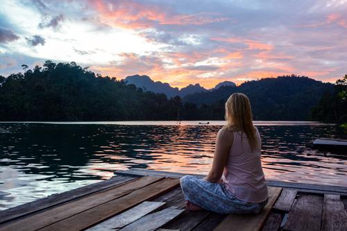 Human being Nature Vacation & Travel Youth (Young adults) Plant Water Summer Young woman Relaxation Landscape Calm Far-off places Feminine Lake Horizon