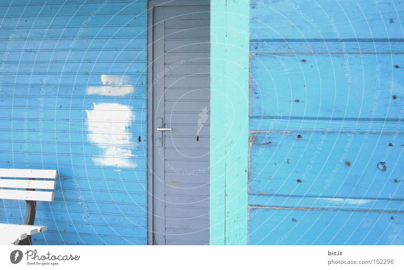 Blue White Gray Line Turquoise Redecorate Section of image Partially visible Redevelop Patch of colour Wooden wall Sky blue Light blue Paintwork Wooden house
