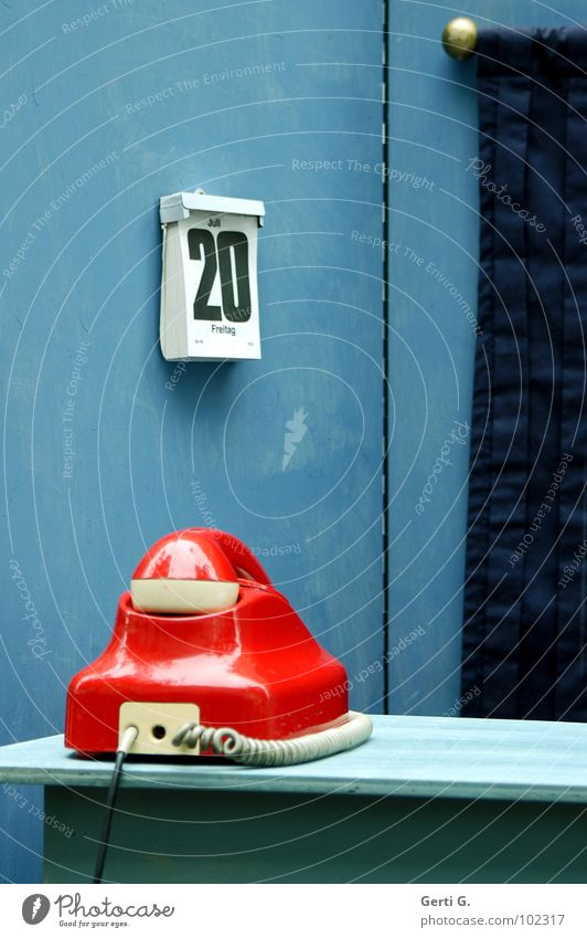 Blue Red Calm Wall (building) Wood Office Wait Decoration Communicate Technology Telecommunications String Telephone Retro Digits and numbers Painting (action, work)
