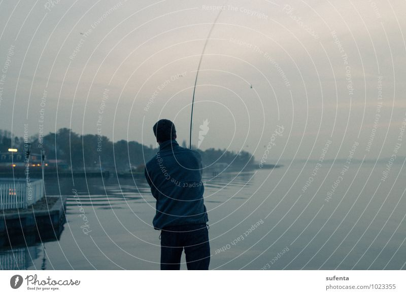 relaxation Leisure and hobbies Fishing (Angle) Vacation & Travel Freedom 1 Human being Nature Water Autumn Lakeside Müritz Harbour Think Relaxation Cold Cliche