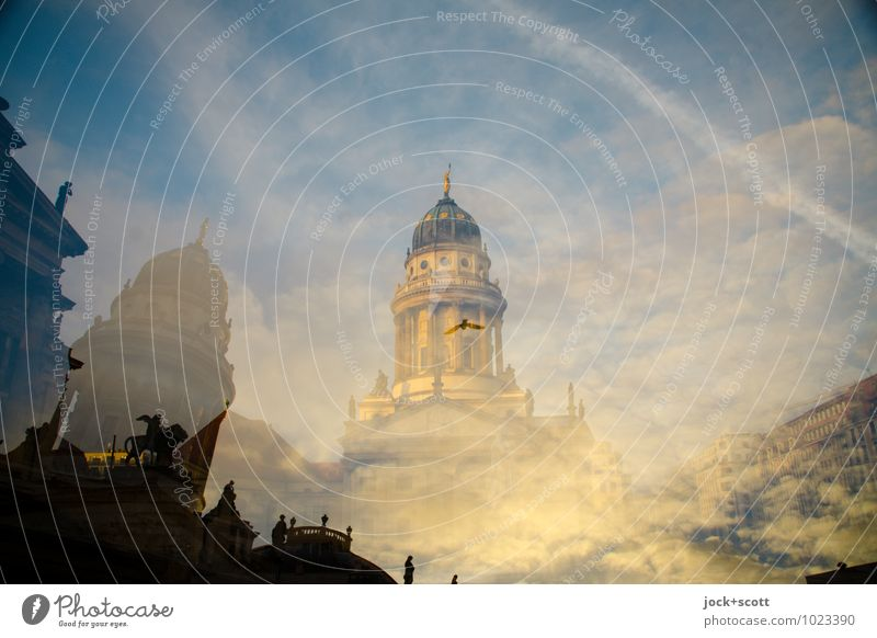 1200m center sight Clouds Gendarmenmarkt Historic Inspiration Surrealism Double exposure Visual spectacle Vapor trail Flight of the birds Reaction Illusion
