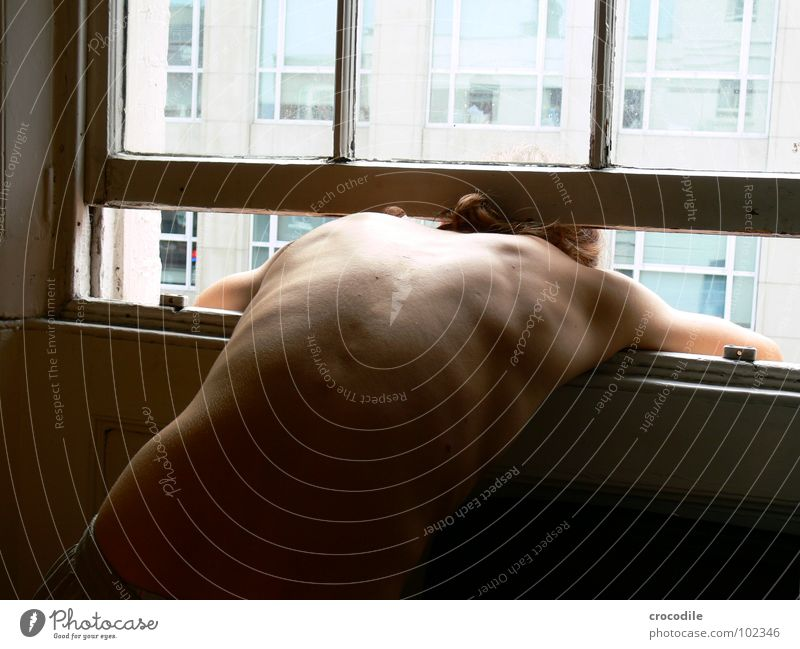 Man Youth (Young adults) Window Naked Hair and hairstyles Room Glass Back Fear London Captured Ambush England