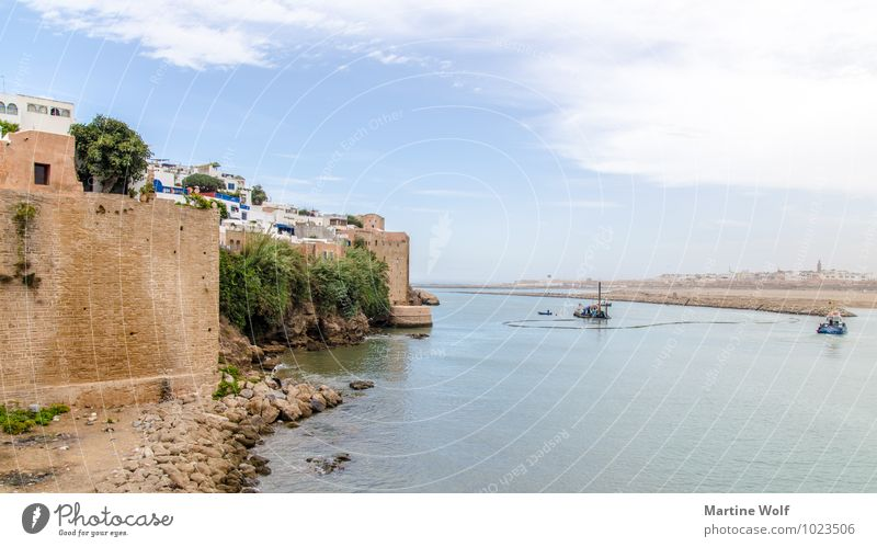 Rabat - View of Salé Sale Morocco Africa Town Capital city Wall (barrier) Wall (building) Vacation & Travel Kasbah de Oudaïa Oued Bou Regreg Mouth of a river