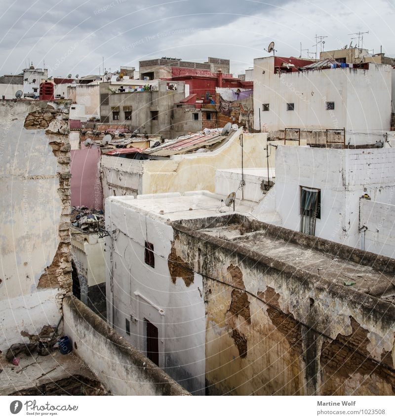 salé Sale Morocco Africa Town Downtown Old town House (Residential Structure) Living or residing Medina overcast Colour photo Deserted