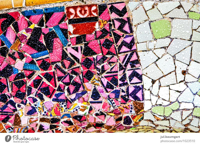 Barcelona Park Manmade structures Building Architecture Facade Tourist Attraction Landmark Stone Glittering Crazy Güell Park Mosaic Colour photo Multicoloured