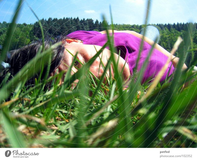 Human being Woman Sky Blue Green Tree Summer Black Face Relaxation Meadow Grass Hair and hairstyles Lie Leisure and hobbies Sleep