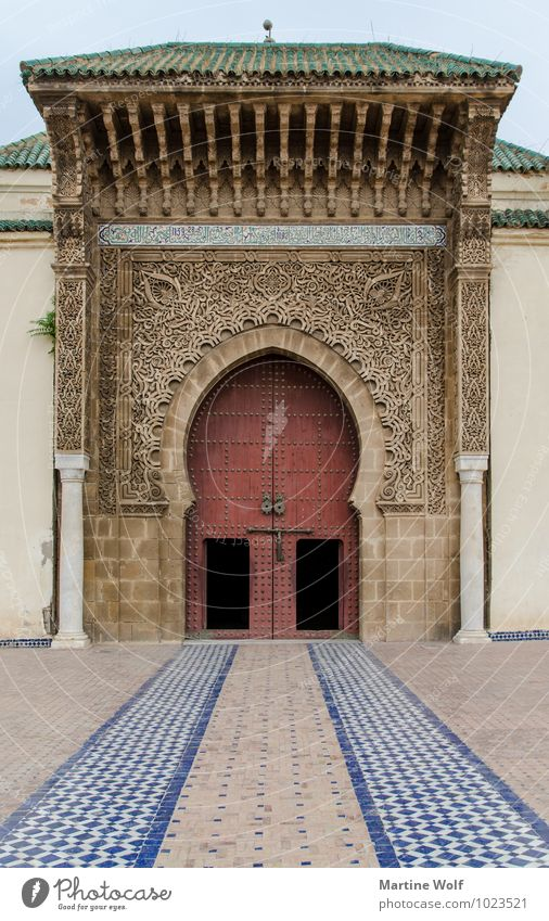 Moulay Ismail Mausoleum Meknes Morocco Africa Tourist Attraction Tomb Religion and faith Moulay Ismail's Mausoleum Decoration Ornate Colour photo Exterior shot