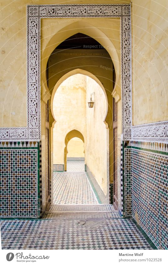 Moulay Ismail Mausoleum 2 Meknes Morocco Africa Tourist Attraction Tomb Vacation & Travel Moulay Ismail's Mausoleum Repeating Way out Archway Door Colour photo