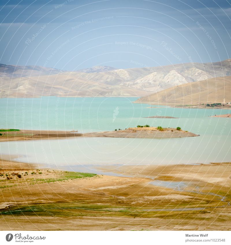 Barrage Sidi Chahed Square Nature Landscape Mountain Atlas Lake Morocco Africa Idyll Vacation & Travel Calm Pastel tone Colour photo Exterior shot Deserted