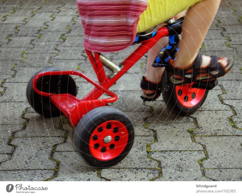 Watch The Children Play Playing Tricycle Driving Red Tread Sandal Stand Kick about Pants Shirt Yellow Footwear Summer Success bycicle Seating Sit Wheel