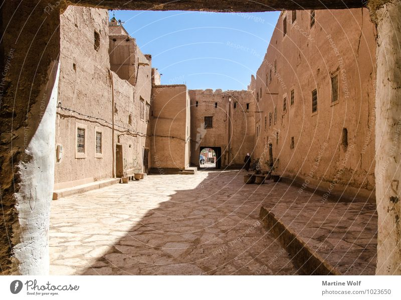 Vacation & Travel Wall (building) Wall (barrier) Village Cloudless sky Africa Passage Mosque Morocco Loam