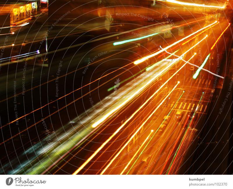 Lines of light Night Light Long exposure Exposure Zebra crossing Street Car Beam of light Dynamics