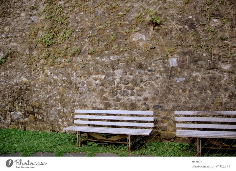The wall must be removed Wall (barrier) Gray Loneliness Empty Derelict Bench Old Lawn