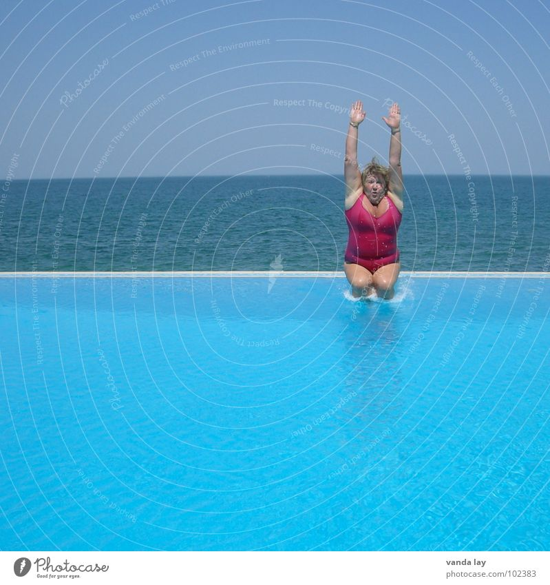 Candle half stretched Summer Swimming pool Vacation & Travel Ocean Swimsuit Bathroom Pink Jump Fat Woman Refrigeration Open-air swimming pool Sky blue Horizon