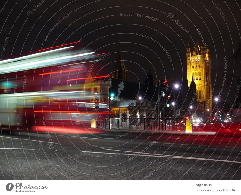 nightbus London England Transport Public transit Night Traffic light Rear light Traffic infrastructure Long exposure Bus Double-decker bus House of Parliament