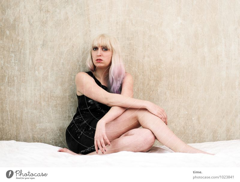 . Bed Room Feminine Young woman Youth (Young adults) 1 Human being Dress Blonde Long-haired Observe Looking Sit Wait Beautiful Expectation Ease Curiosity