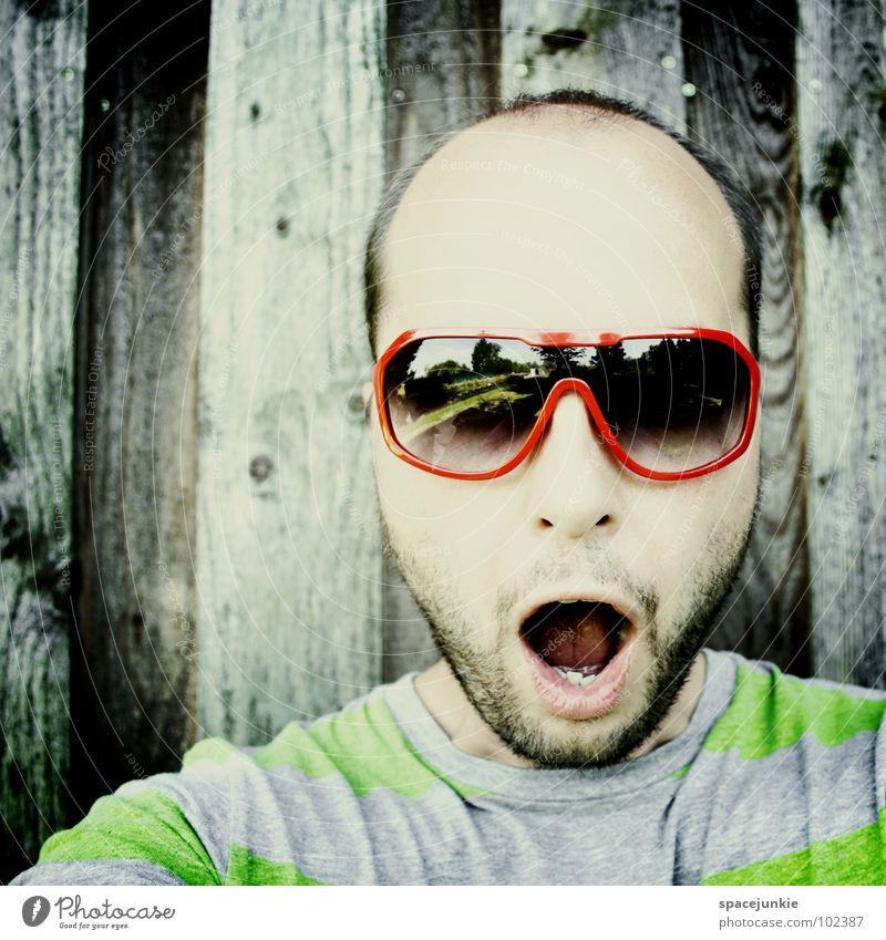 Man Summer Joy Crazy Eyeglasses Stripe Whimsical Sunglasses Amazed