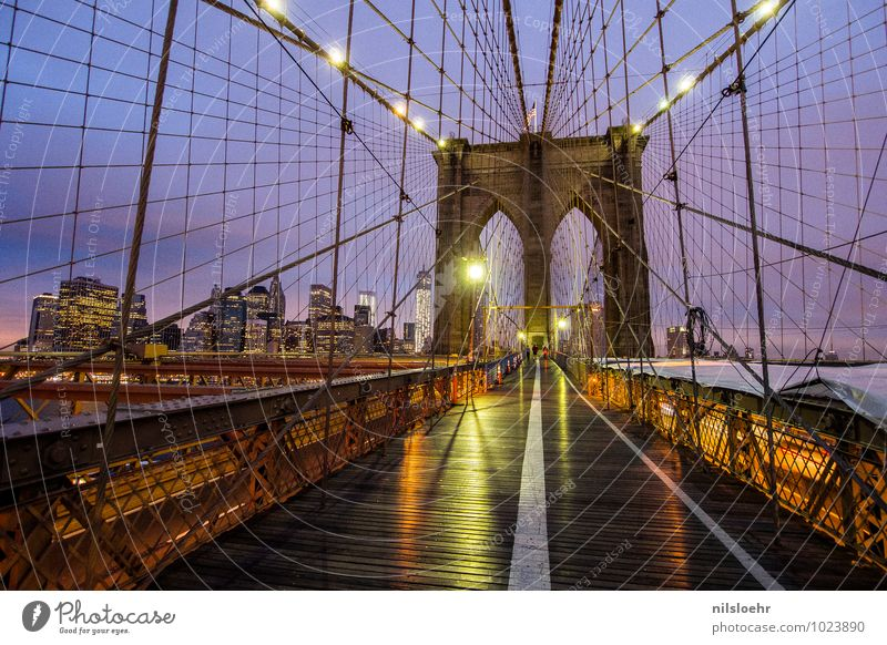 brooklyn bridge lights Vacation & Travel Trip City trip New York City Town Bridge Building Architecture Lanes & trails Illuminate Gold Violet Orange Emotions