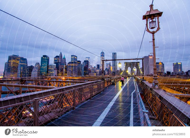 brooklyn bridge sky Sky Clouds New York City Town Bridge Pedestrian Lanes & trails Illuminate Blue Gold Gray Colour photo Exterior shot Morning