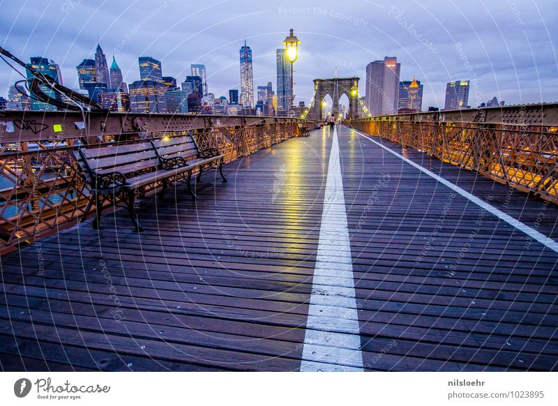 brooklyn bridge bench Vacation & Travel Tourism City trip Clouds New York City Town Bridge Tourist Attraction Pedestrian Lanes & trails Going Illuminate Blue