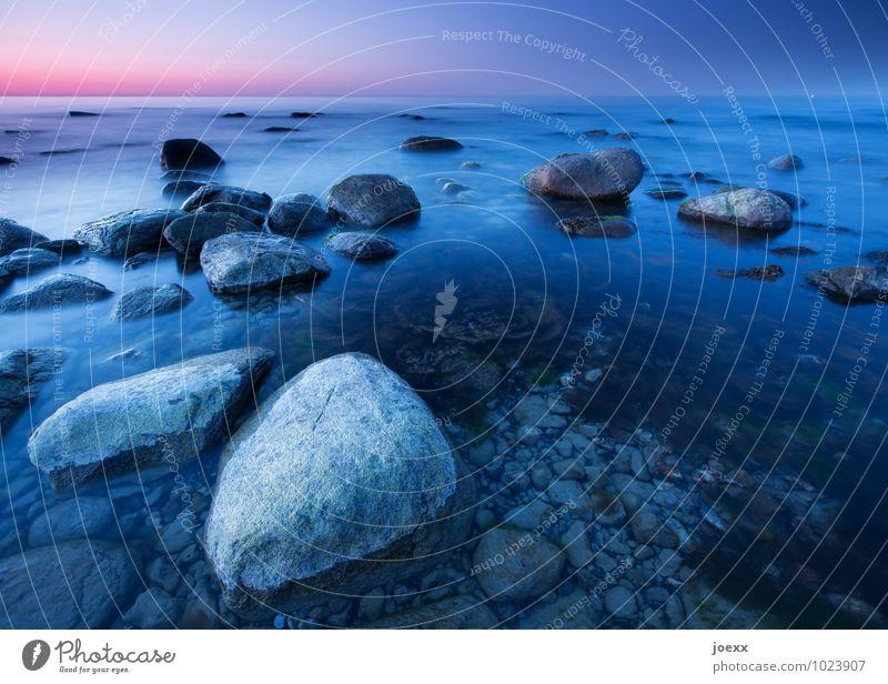 Blue Beautiful Water Coast Gray Stone Horizon Baltic Sea Violet Cloudless sky