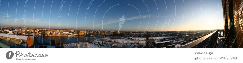 the city Sky Cloudless sky Sunlight Winter Beautiful weather Berlin Adlershof Town Capital city Downtown Skyline Industrial plant Factory Ruin Tower
