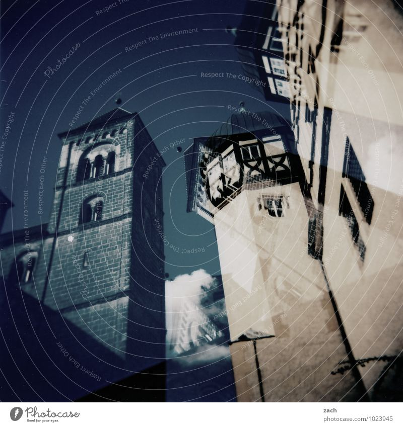 Blue House (Residential Structure) Window Wall (building) Architecture Wall (barrier) Facade Living or residing Church Tower Castle Manmade structures Crucifix Old town Analog Double exposure