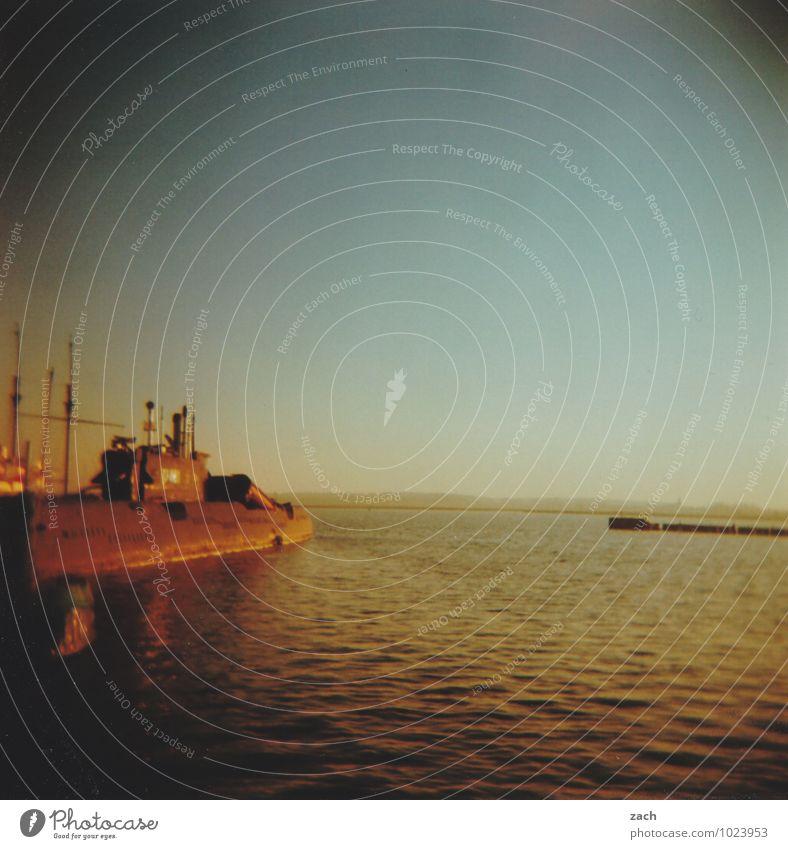 Sky Blue Ocean Coast Brown Waves Threat Retro Bay Baltic Sea Past Harbour Peace Cloudless sky Wanderlust Navigation