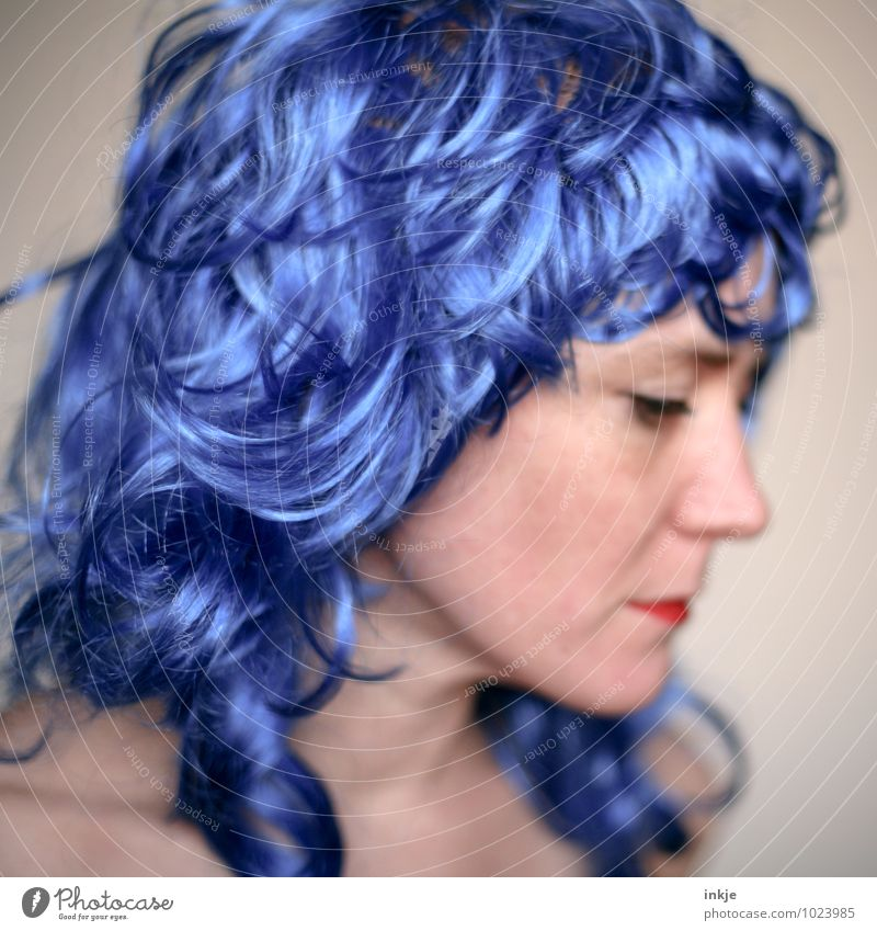 Blue wave Lifestyle Joy Leisure and hobbies Going out Carnival Woman Adults Hair and hairstyles Face 1 Human being 30 - 45 years Long-haired Curl Wig Think