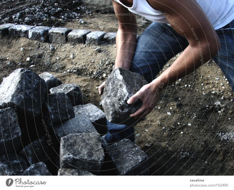 stone on stone Construction site Construction worker Man Work and employment Working man Pave Craft (trade) Stone Musculature Arm