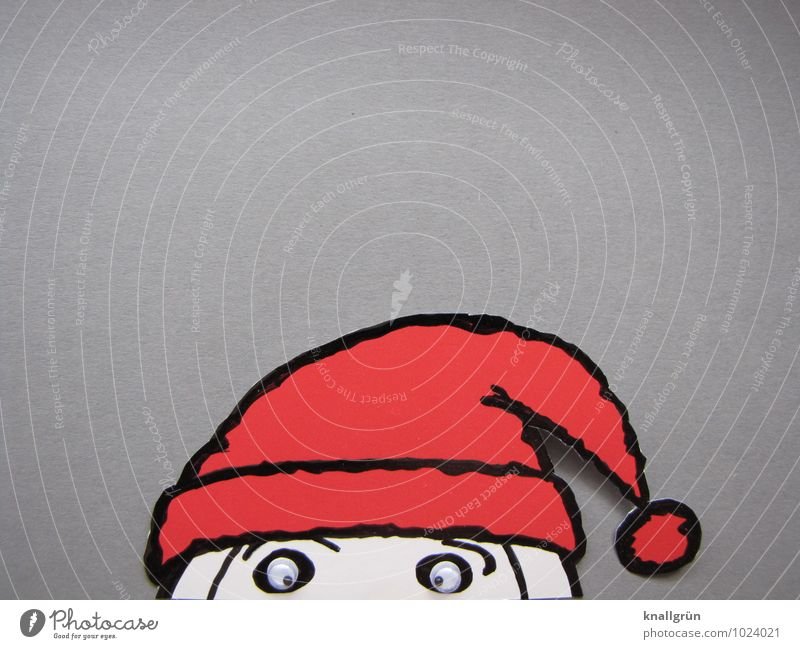 Here I am again! Christmas & Advent Observe Looking Curiosity Gray Red White Emotions Moody Happiness Anticipation Expectation Joy Tradition Santa Claus