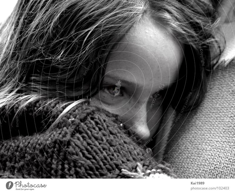 Sad memory Girl Sweet Grief Cuddling Sweater Safety (feeling of) Portrait photograph Distress Black & white photo Child Sadness Cry Eyes Tears