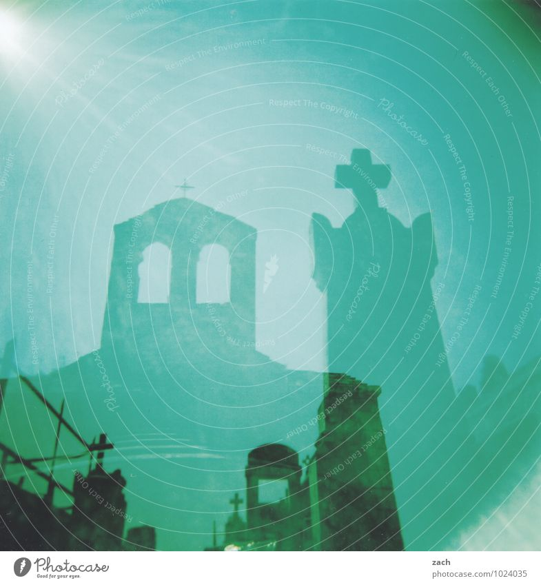 Blue Green Sun Dark Window Life Sadness Death Religion and faith Stone Dream Fear Threat Church Transience Beautiful weather