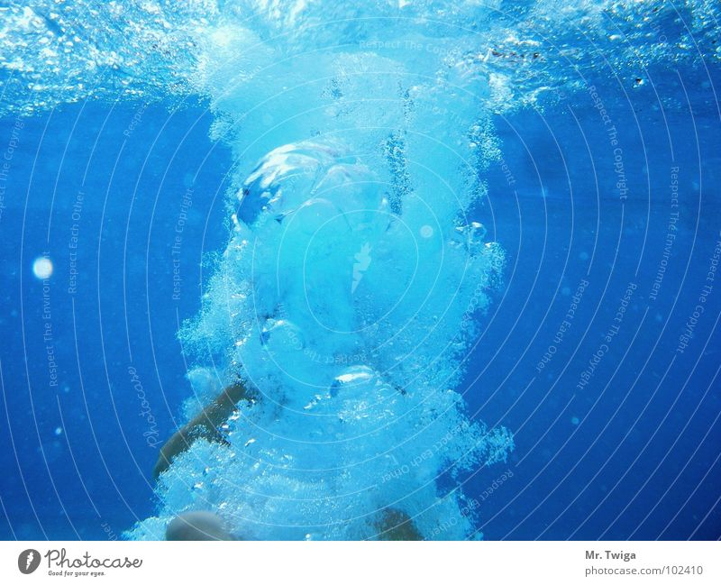 bomb Dive Summer Air bubble Bomb Jump Hand Water Underwater photo water bomb Blue hold one's breath Feet
