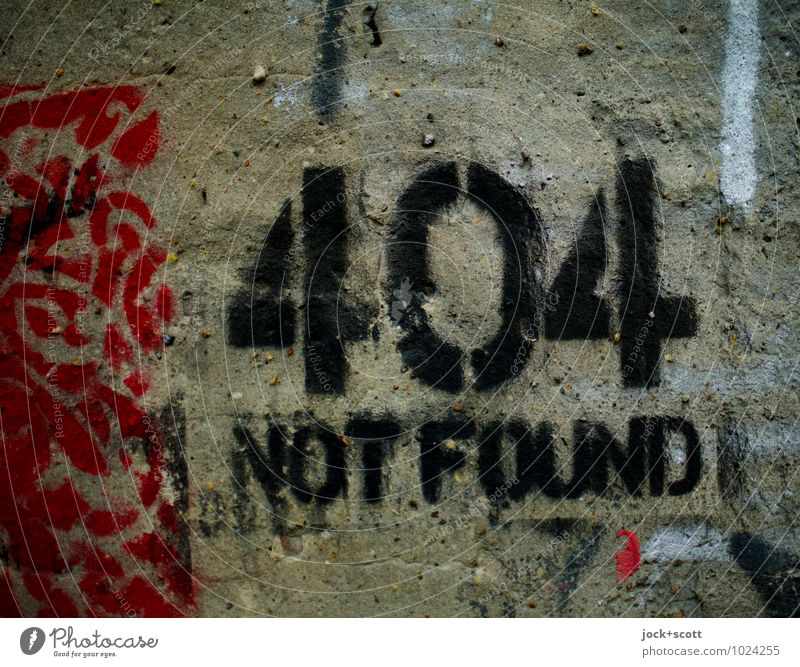 not found...self-made Style Modern Creativity Transience Digits and numbers Search Internet Firm Information End Word Trashy Plaster Surface Clue Date