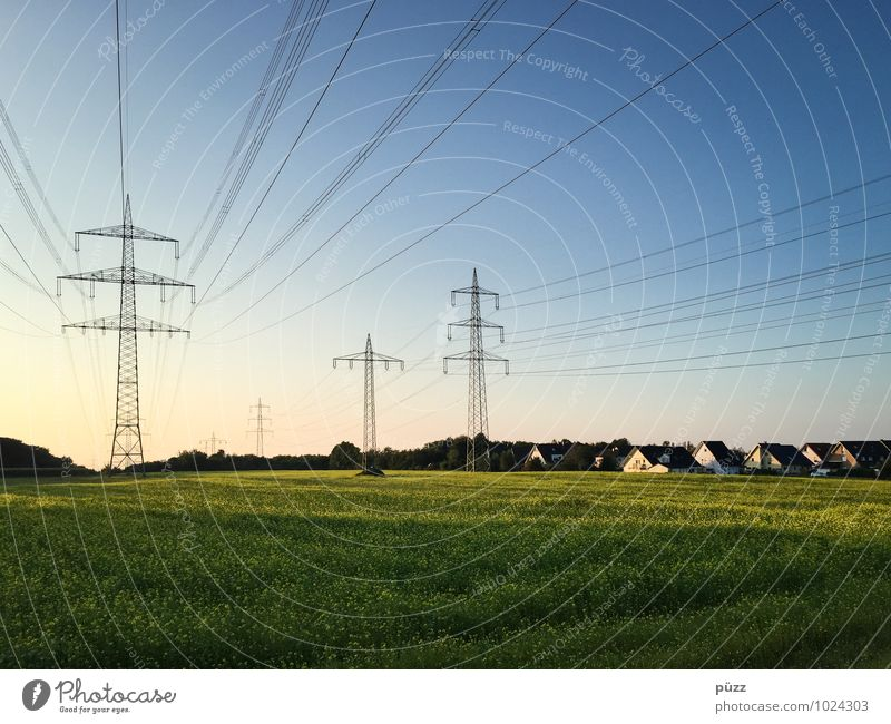 Sky Blue Green Summer Landscape House (Residential Structure) Environment Horizon Energy industry Field Technology Electricity Beautiful weather Cable Village