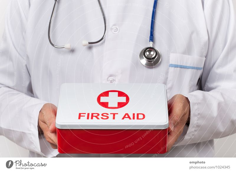 Doctor and first aid kit box in his hands Health care Tool Man Adults Coat To fall Red White consultant practitioner First aid kit Stethoscope Emergency medical