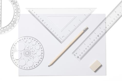 School Supplies-Stock Photo White Paper Transparent Desk Pen Piece of paper Accessory Pencil Triangle Ruler Lined Eraser
