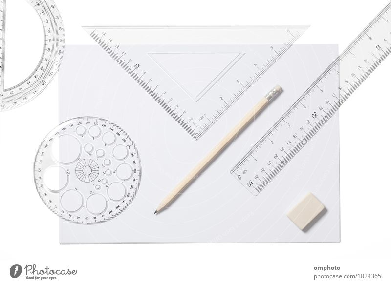 Several school supplies isolated on white background Desk School Accessory Paper Piece of paper Pen White sheets Ruler Triangle Pencil template Eraser tools