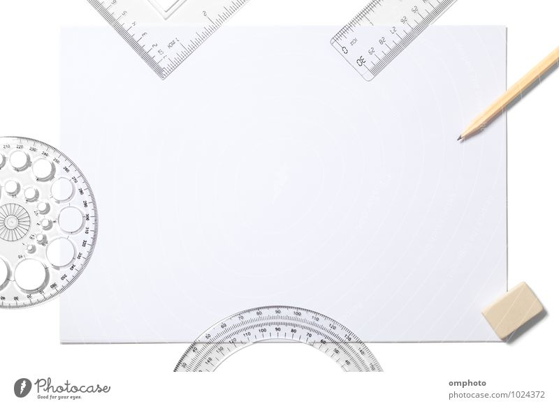 Blank white sheet and school supplies isolated on white Tool Accessory Paper Draw Write Above White Pencil Eraser Ruler Triangle template protractor empty