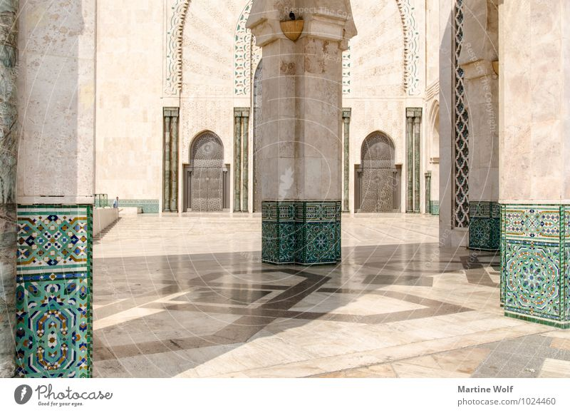 perfect architecture Casablanca Morocco Africa Town Port City Manmade structures Building Architecture Mosque Tourist Attraction Esthetic Vacation & Travel