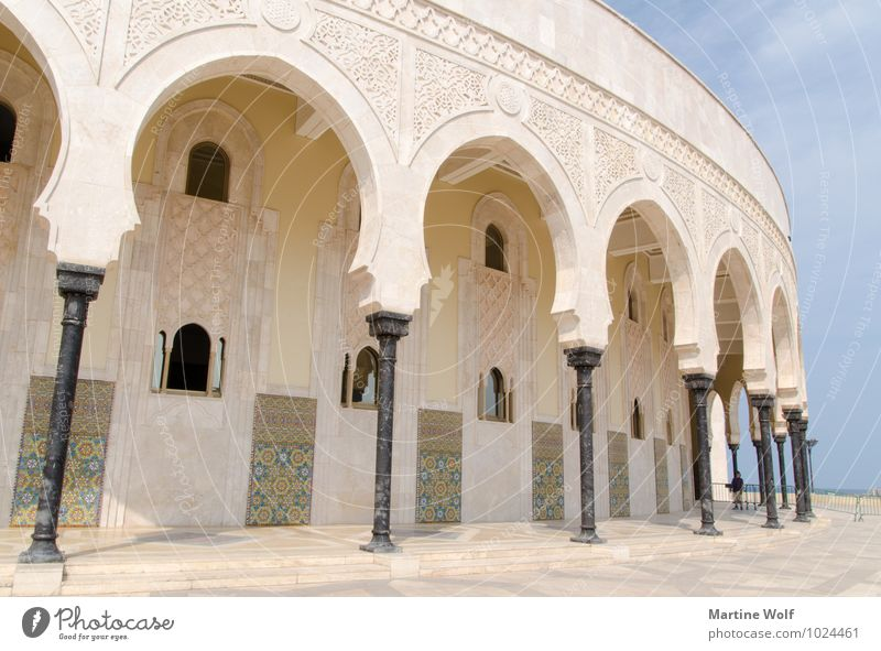 sloping columns Casablanca Morocco Africa Town Port City Manmade structures Building Architecture Mosque Tourist Attraction Vacation & Travel Religion and faith