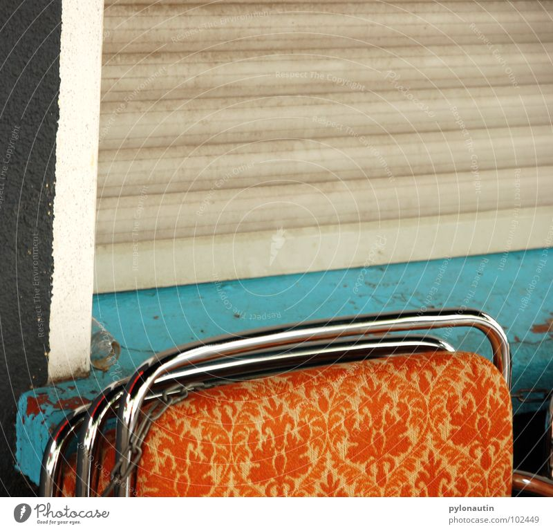 White Colour Window Gray Metal Orange Cloth Retro Chair Café Furniture Turquoise Chain Stack Seventies Gastronomy